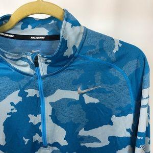 Nike Element 1/2 Zip Running Shirt, Blue Camo